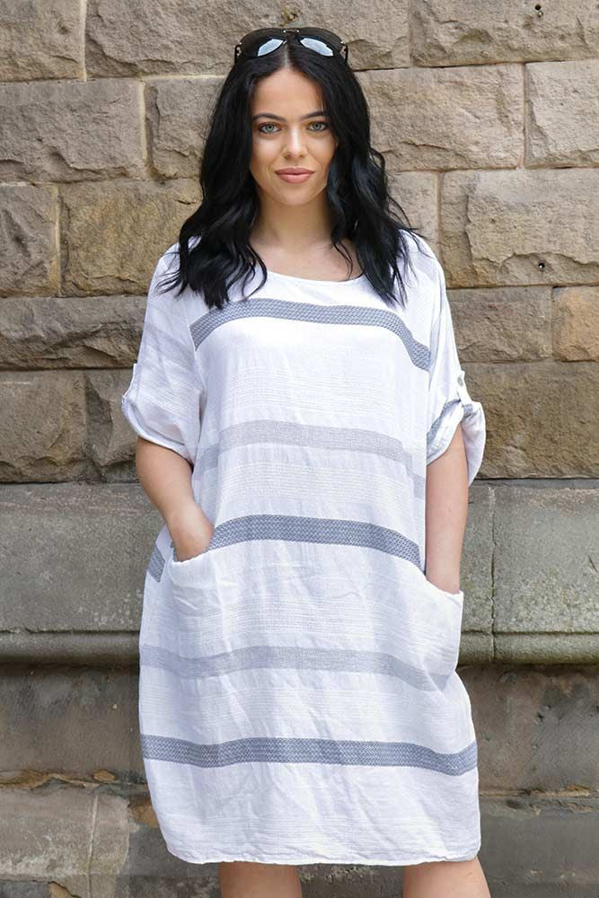 Cotton Stripe Tunic Top Discreet Pockets