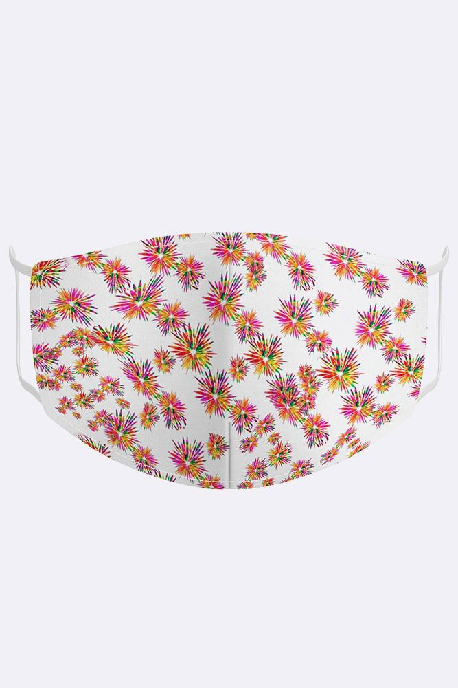 White Rainbow Print Cotton Face Masks Cover