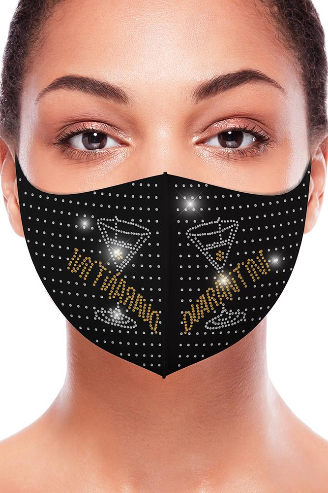Quarantini Yellow Rhinestones Fashion Face Mask