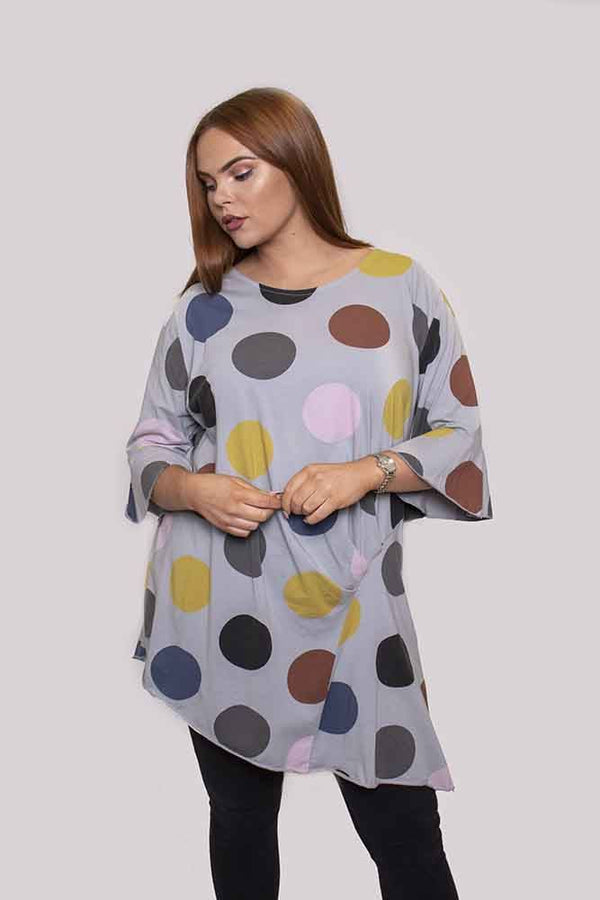 Wholesale Polka Dot Fluted Sleeves Asymmetric Top Fluted Sleeves