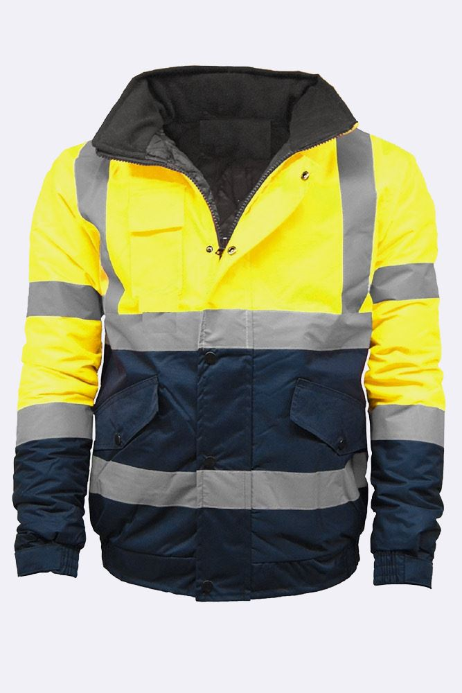 2 Tone High Visibility Bomber Padded Jacket