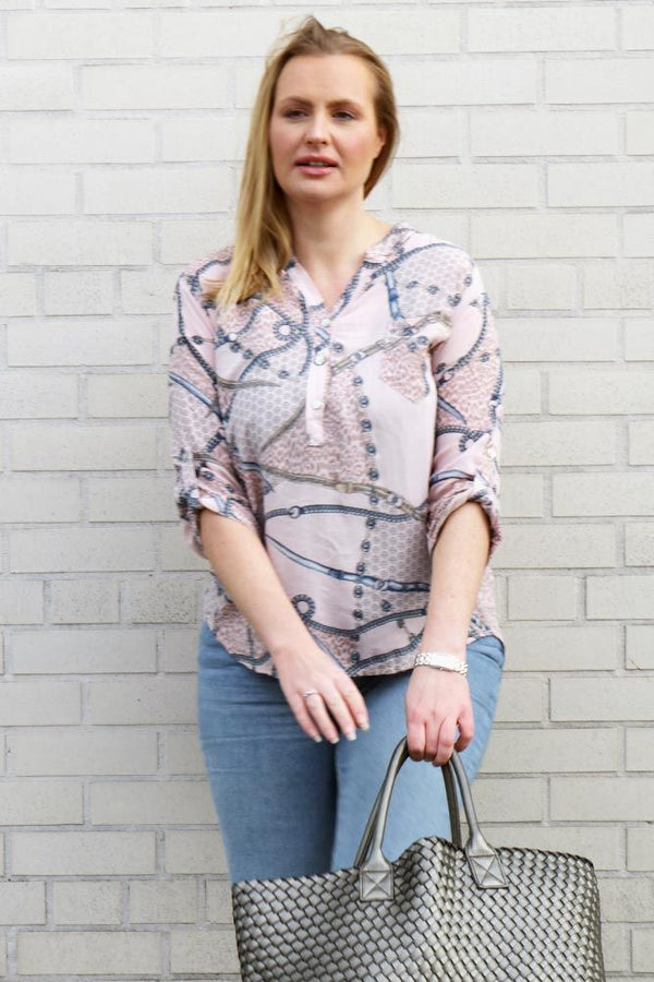 Belt Chain Print Top