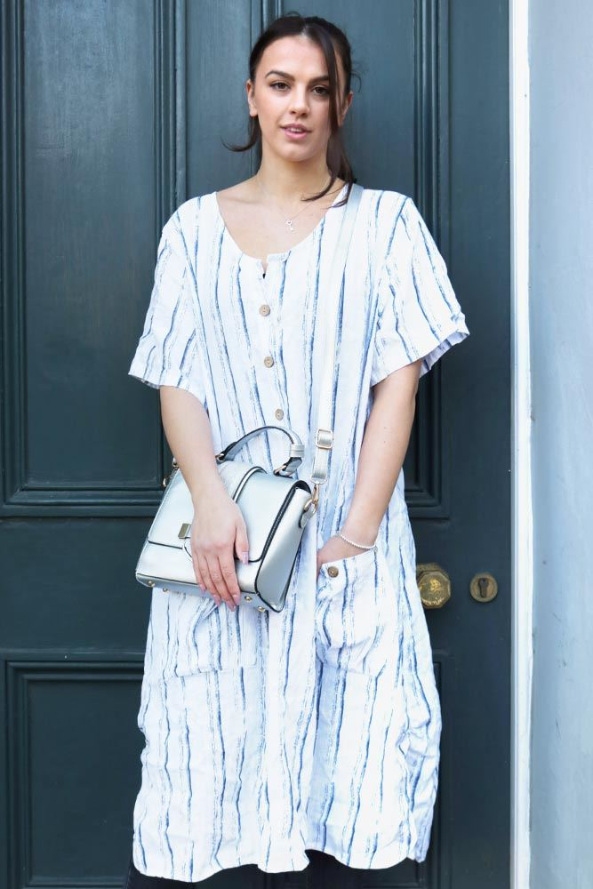 Abstract Stripe Button Pocket Dress