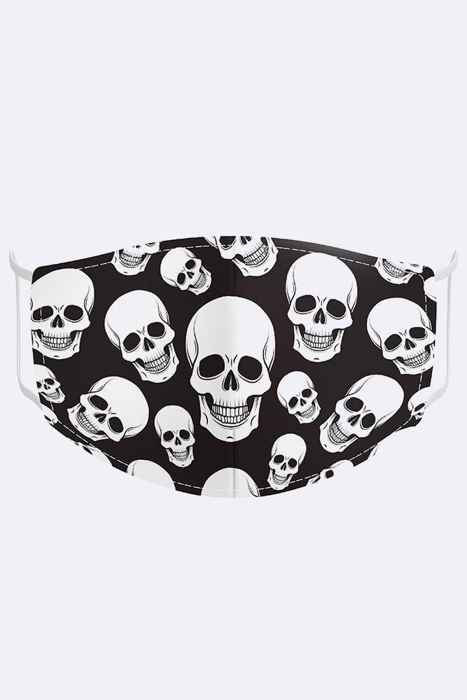 Unisex White Skull Digital Print 2 Ply Cotton Face Mask Cover