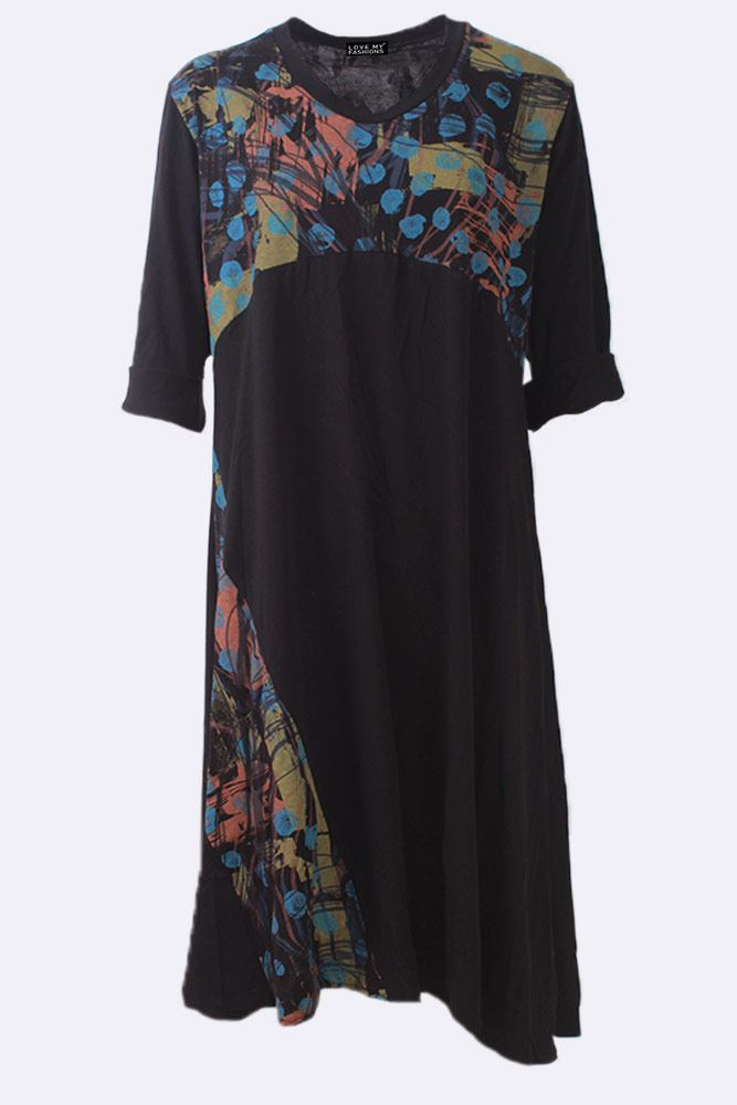 Abstract Dot Print Long Sleeve Patchwork Dress