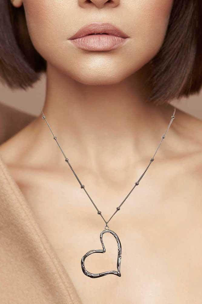 Floating Open Heart Pendant Chain Necklace