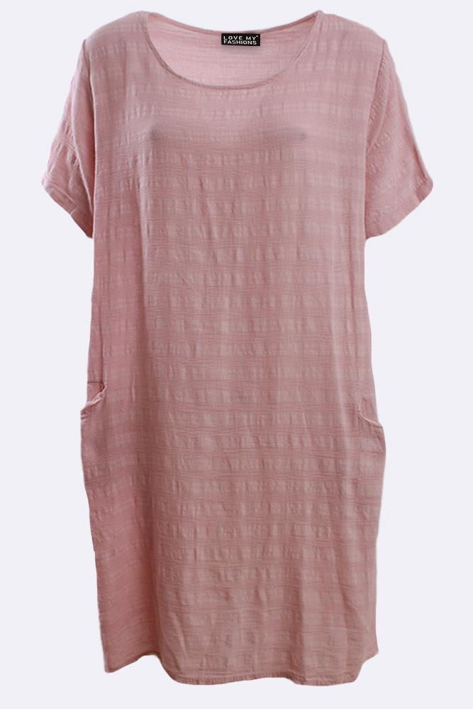 Italian Plain Cotton Textured Short Sleeve Dress
