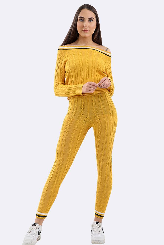 Striped Chunky Cable Knit Neckline Tracksuit