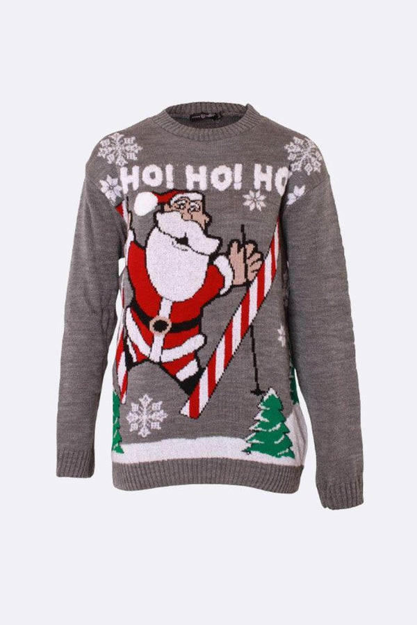 Wholesale Knitted Ho Ho Ho Grey Christmas Jumper