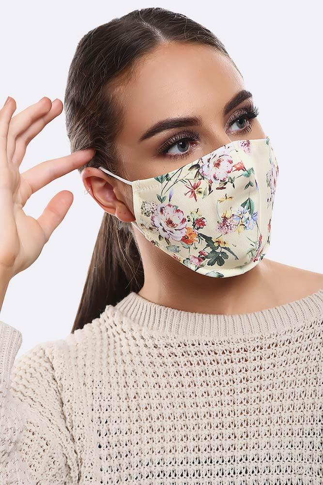 Floral Light Yellow Print Cotton Face Masks Cover