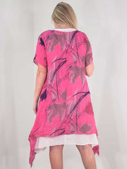 Wholesale Splash Print Linen Dress