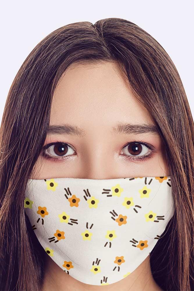 Kids White Yellow Flower Printed Mask Cover
