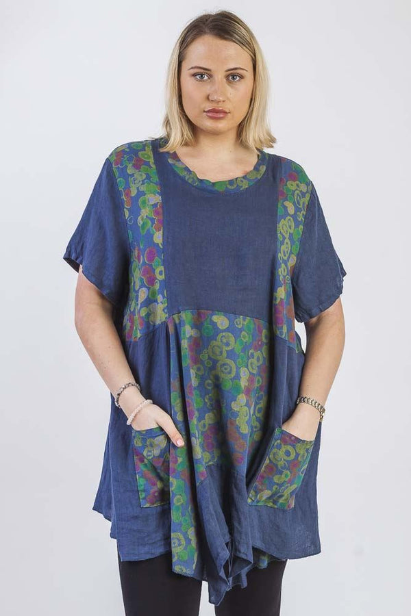 Multicoloured Circle pattern Hanky Hem Top