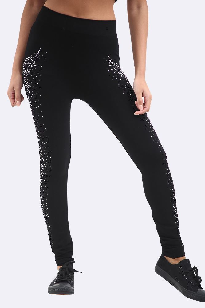 Small Paisley Diamante Pattern High Waist Legging