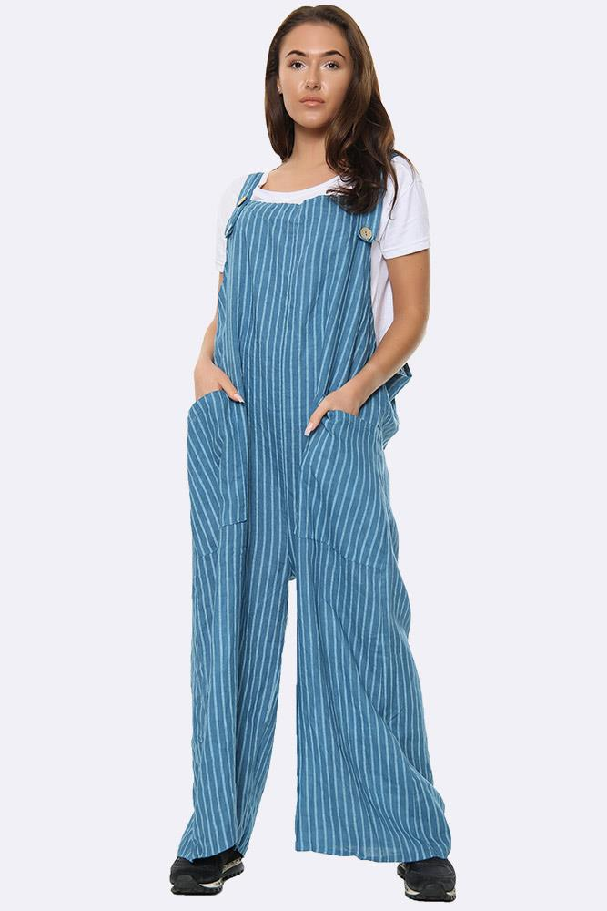 Wholesale Striped Pocket Dungaree
