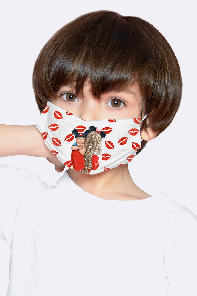 Kids Mama Mouse 2 Ply Digital Print Cotton Face Mask Cover