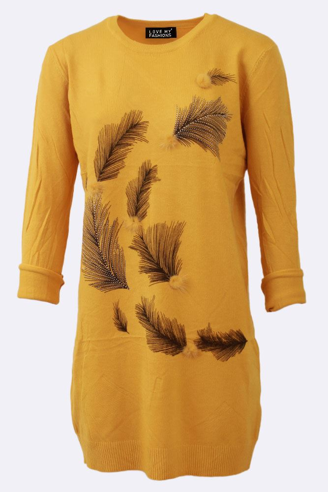 Long Dimante Pompom Feather Jumper