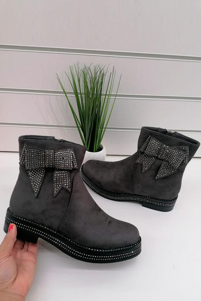 Diamante Bow Ankle Boots