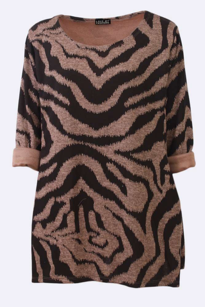 Zebra Print Crew Neck Long Sleeve Top