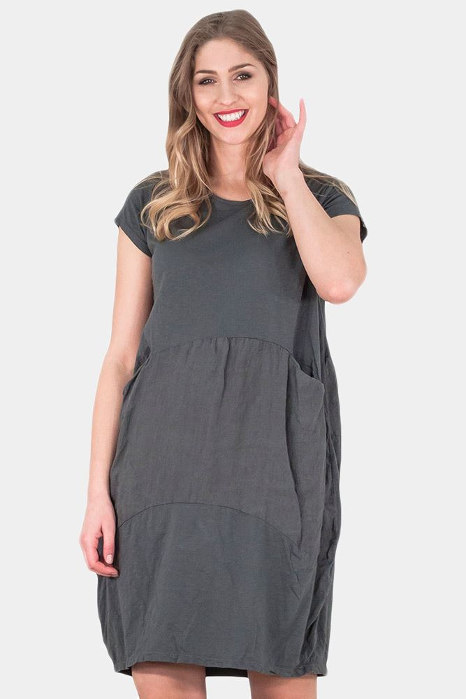 Wholesale Plain Front Pocket Baggy Dress