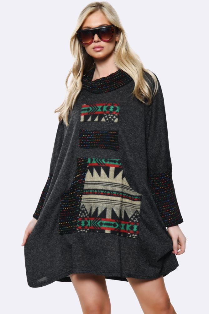 Italian Aztec Print  Baggy Pocket  Cowl Neck Tunic Dress