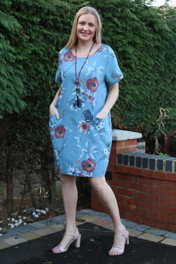 Italian Cotton Flower Leaf Print Short Sleeve Pocket Dress