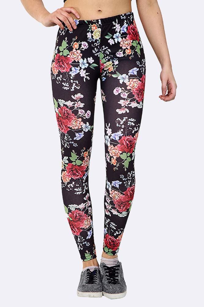 Floral Bunch Print Full Length Leggings