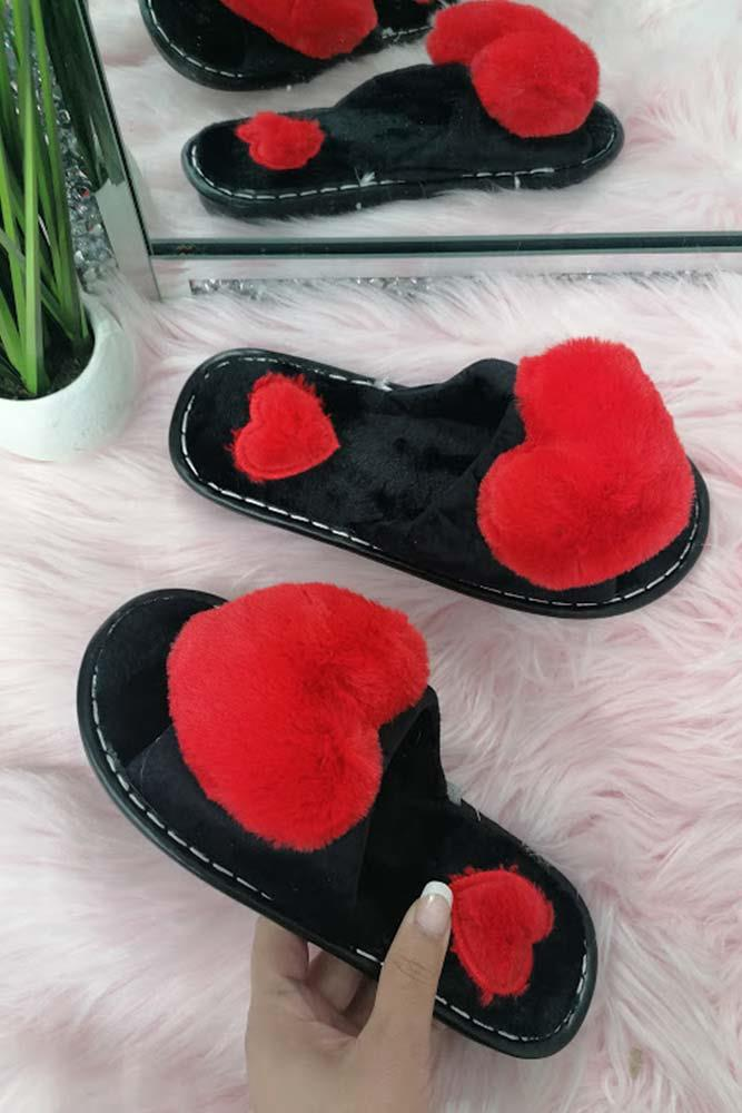 Ladies Furry Heart Slippers