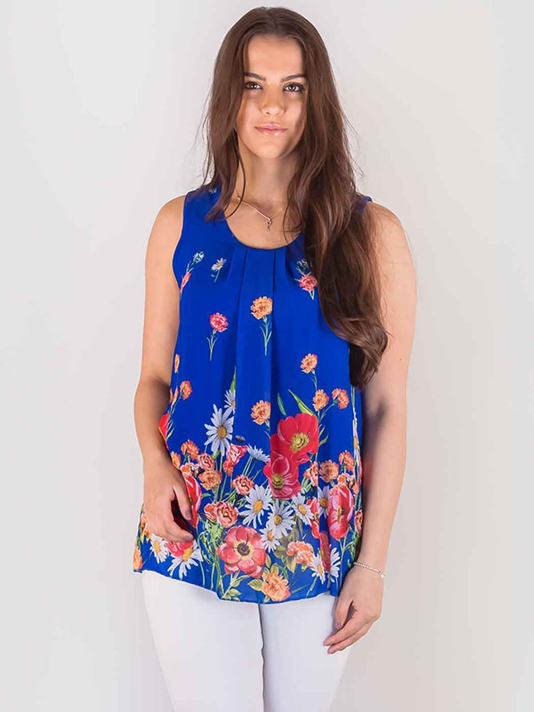 Wholesale Layered Chiffon Floral Border Top