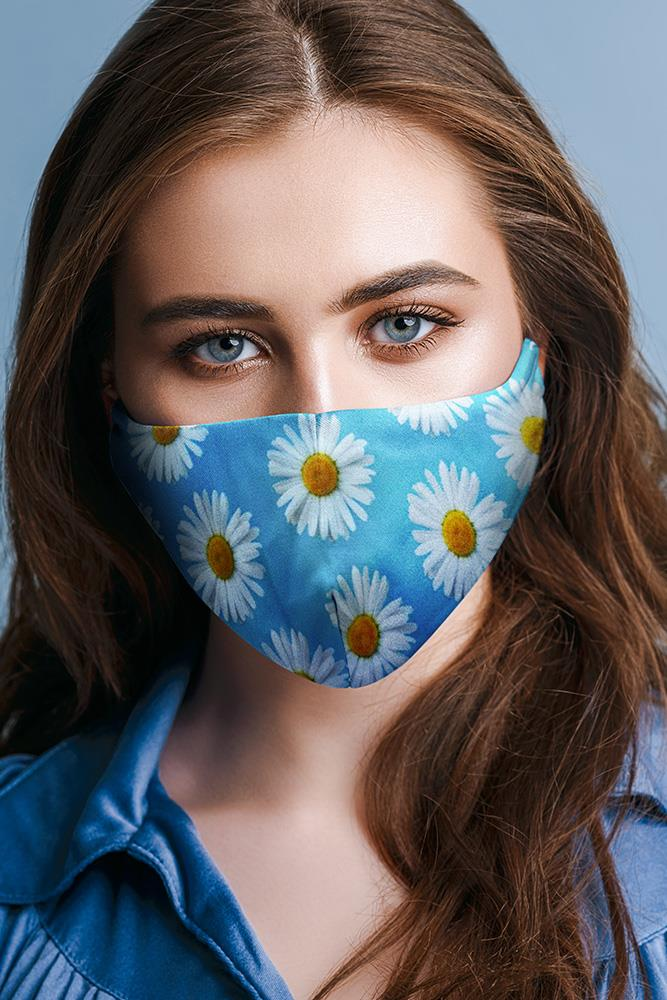 Blue Daisy Floral Print Fashion Face Mask Cover