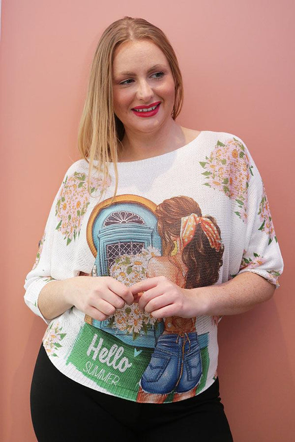 Hello Summer Slogan Print Baggy Jumper