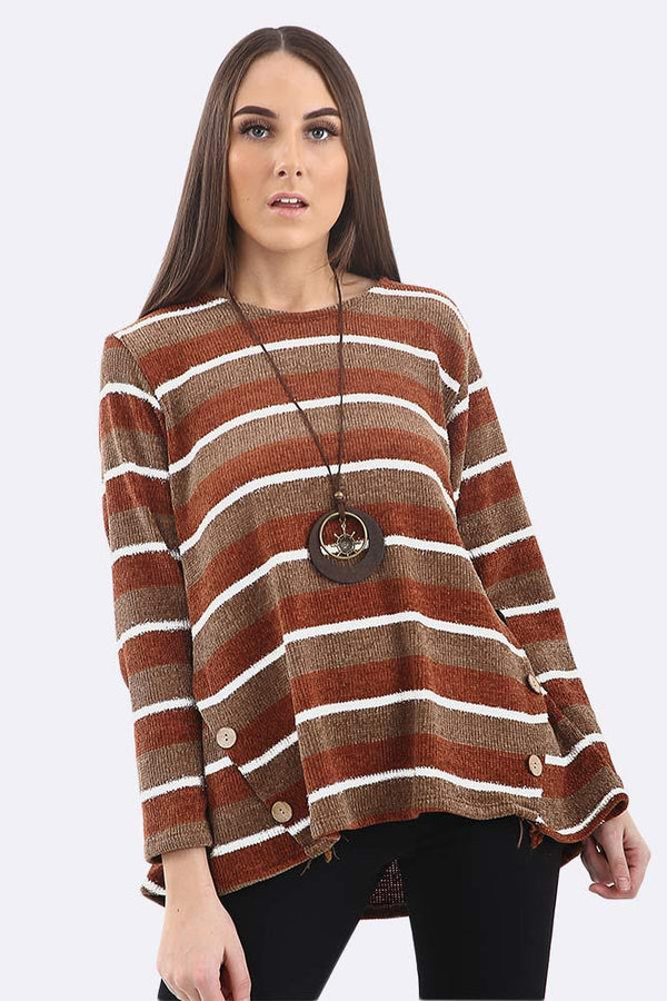 Stripes Pattern Button Hem Necklace Tunictop