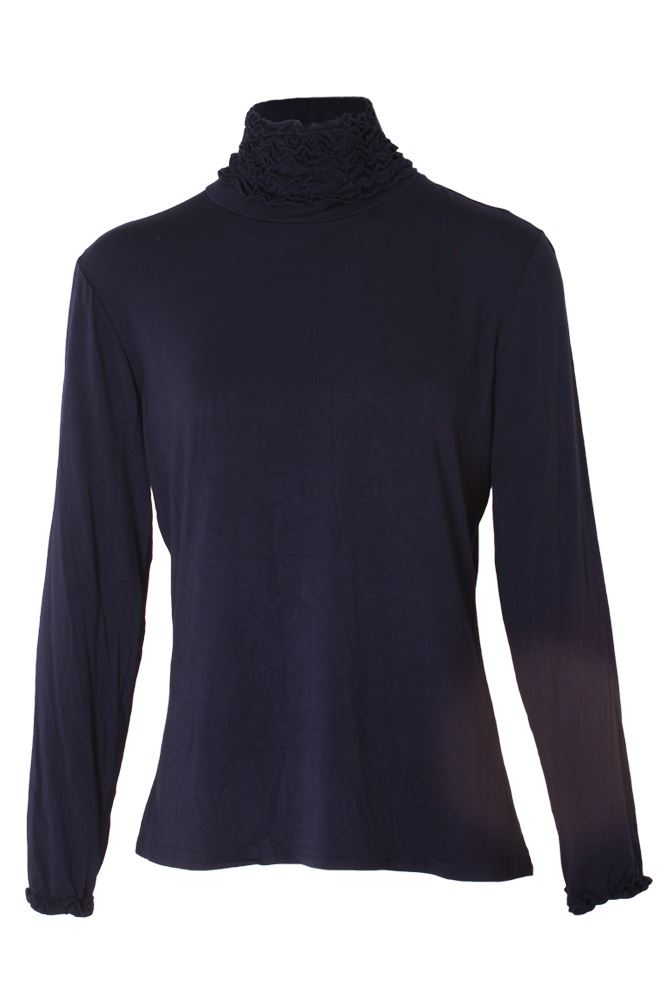 Wholesale Frill Ruched Roll Neck Top