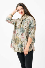 Wholesale Floral Cotton Buttonup Sleeve Scarf Top