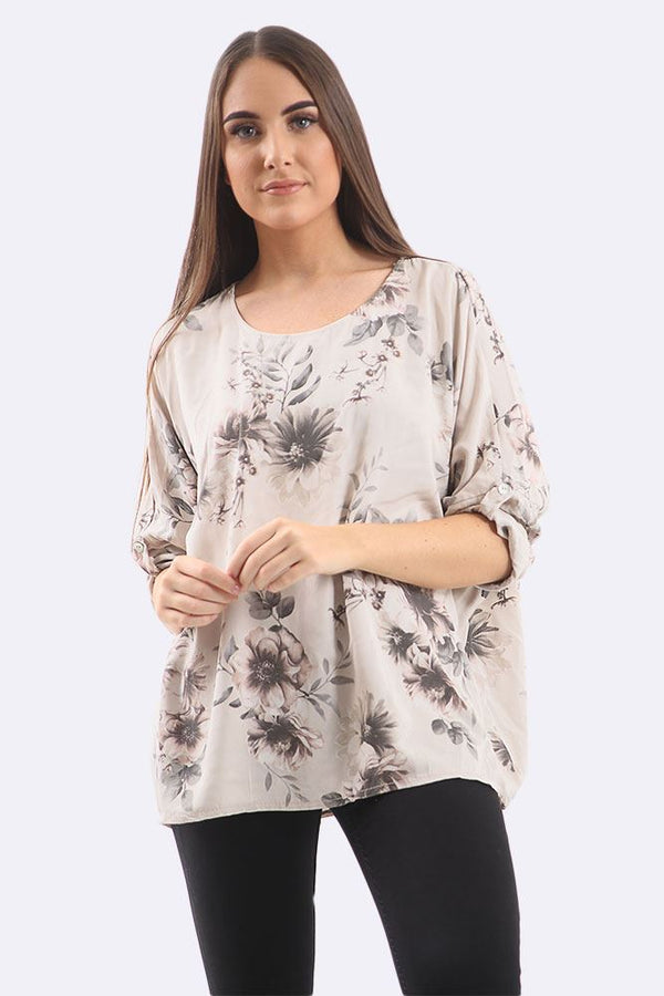 Floral Print Button Sleeve Top