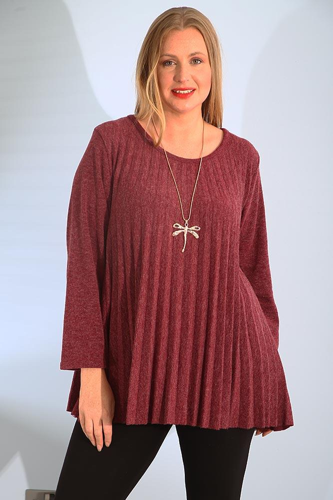 Pleated Wool Mix Crew Neck Necklace Top