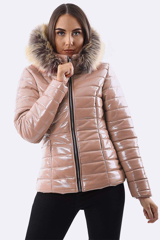 Faux Fur Quilted Hooded Long Sleeve Padded Jacket