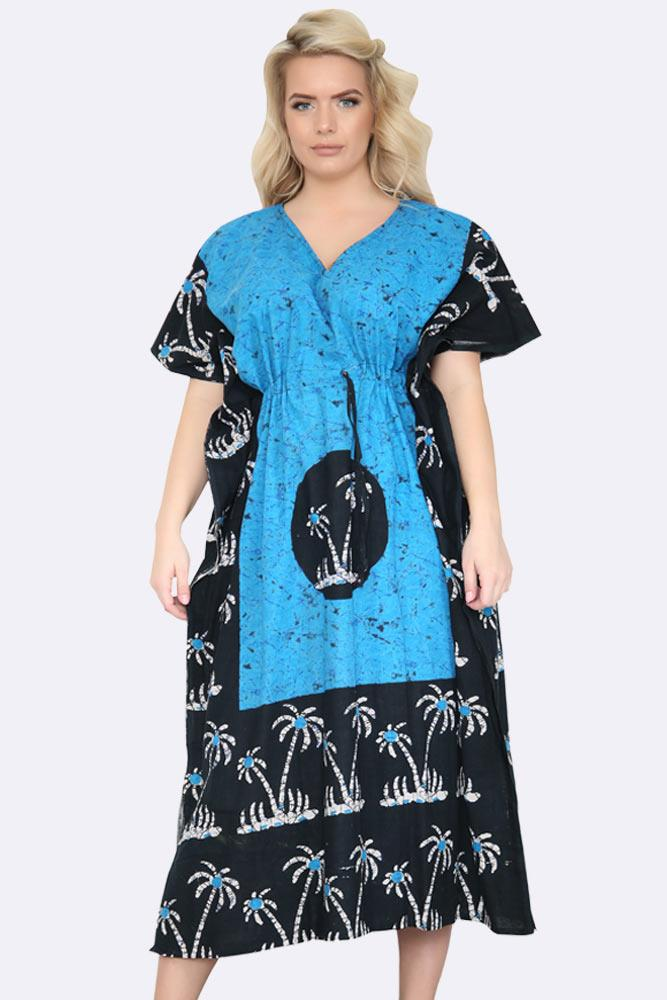 Women's Cotton Plam trees Batik Bohemian drawstring waist kaftan Summer Dress