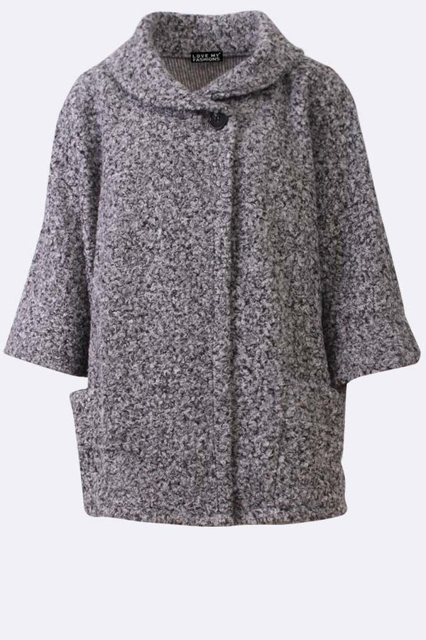 Textured Print Front Pocket Button Fleece Neck Cardigan