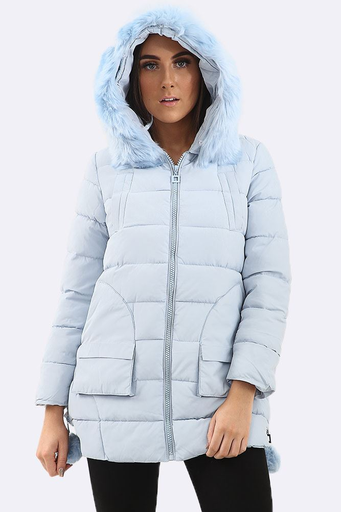 Padded Zipped Sides Faux Fur Hooded Jacket (Pack Of 7)