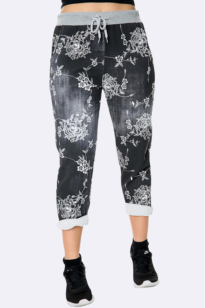Italian Floral Wine Print Trousers