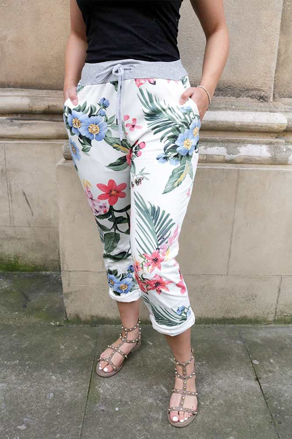 Tropical Printed Drawstring Foldover Hem Trouser