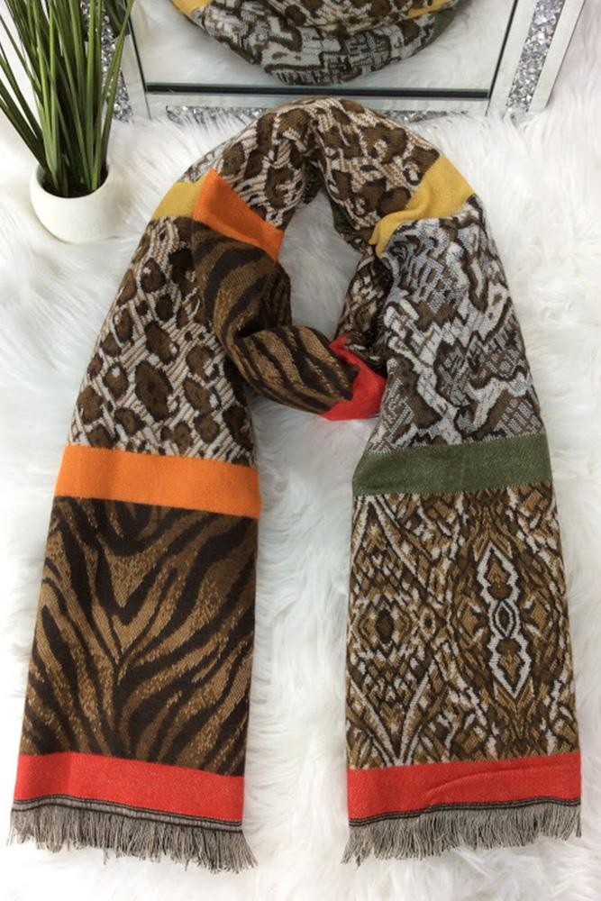 Animal Printed Frayed Scarves