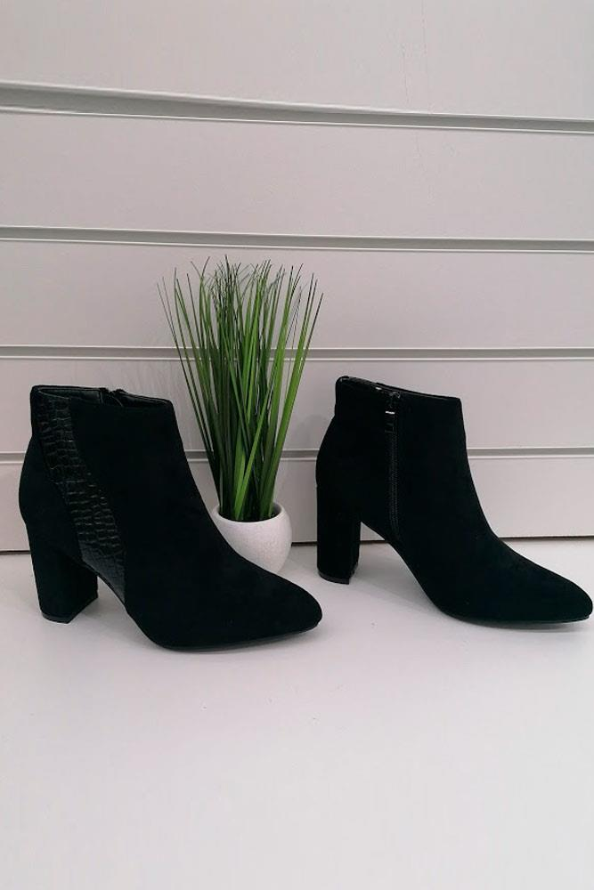 Ankle Heel Croco Pattern Side Stripe Boots