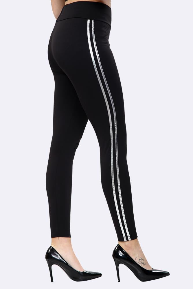 Plain Metallic Side Stripes Full Length Yoga Leggings