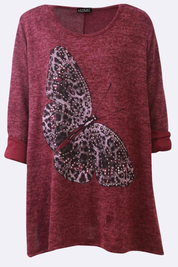 Diamante Butterfly Print Swing Top