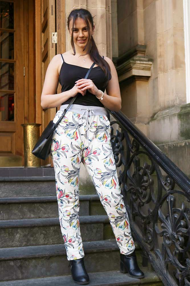 Abstract Tulip Drawstring Trousers