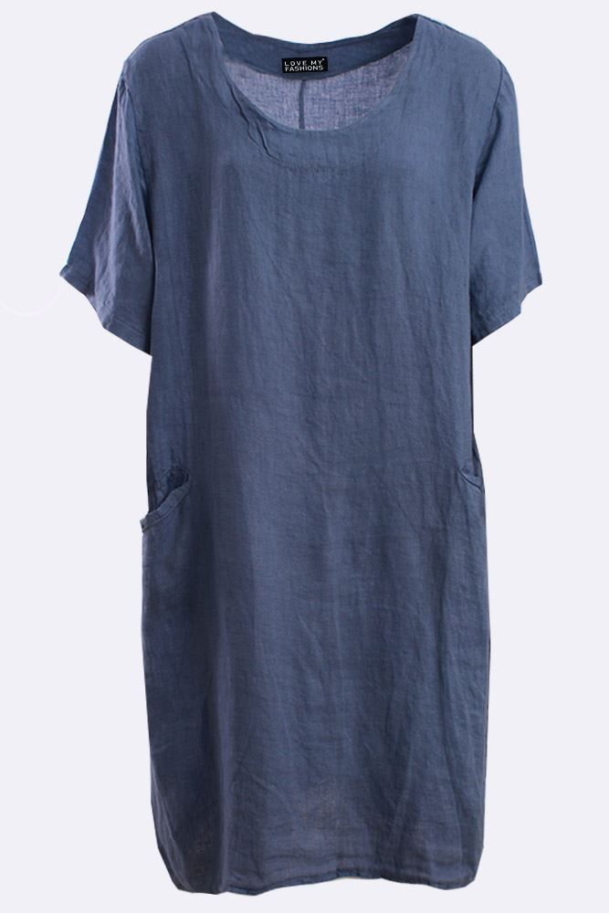 Italian Linen Plain Textured Tunic Dress