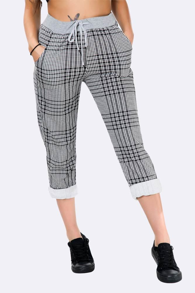 Italian Check Print Full Length Trousers