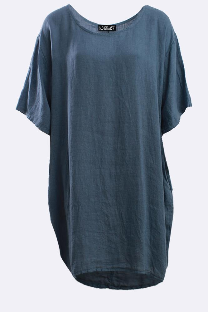 Italian Linen Plain Oversized Dress